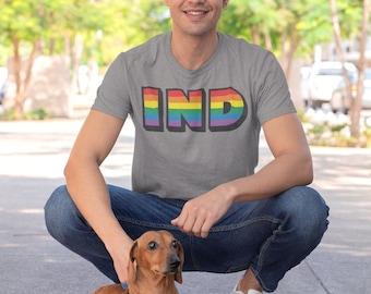 Indiana Pride Rainbow Shirt, LGBTQ Pride Month Tee, Unisex Mens/Womens Tshirt, Hoosier Pride Gift
