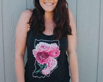 Indiana Peonies Tank Top, Women's Vintage Black Racerback Tank, Pink Peony Top, Super Soft Shirt, Gift for Indiana Girl