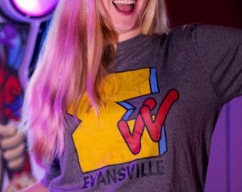EVV Evansville Retro Shirt, 90's Themed Tee, Unisex, Mens, Womens, Hoosier Gift, Indiana, River City TShirt
