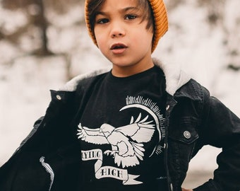 Cool Kid Shirt - Flying High T-Shirt for Children - Tattoo Art Inspired Retro Vintage Black Graphic Printed Kids Tee - Hipster Shirt