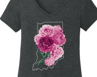 Indiana Peonies. Womens V-Neck Vintage Black Tee. Indiana State Flower Tee. Hoosiers!