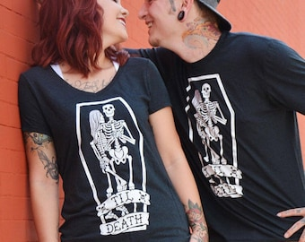 Til Death. Cotton Black Womens fit T-Shirt. Till death do us part Super Soft V-Neck tee. Skeletons / Skulls / Wedding / True Love / Marriage