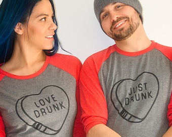 Love Drunk / Just Drunk Couples VALENTINES DAY Red and Grey Raglan style TShirts /Funny Valentines Day Tee / Couples Shirts / Wedding Shirts TmQcI