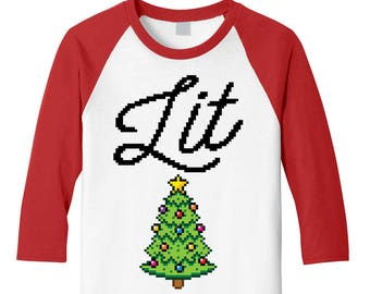 lit christmas baseball tee with christmas tree unisex holiday tshirt ugly christmas sweater tacky christmas party lit christmas