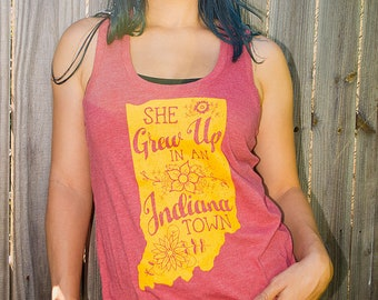 "She Grew Up In An Indiana Town. Womens Racerback Tank in Heather Red. Tom Petty ""Last Dance with Mary Jane"" inspired Indiana Pride Tank Top"