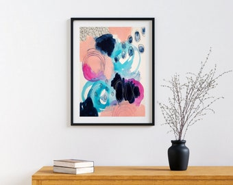 Colorful Bold Abstract Art - Original Art - 11X14 with 16X20 White Mat - WITNESS