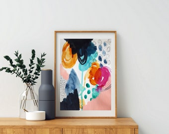 Colorful Bold Abstract Art - Original Art - 9x12 with 11x14 White Mat - SURRENDER