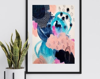 Colorful Bold Abstract Art - Original Art - 11X14 with 16X20 White Mat - TRANSFORM