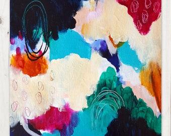 Colorful Bold Abstract Art - Original Art - 12X12 On Canvas Panel - GROW