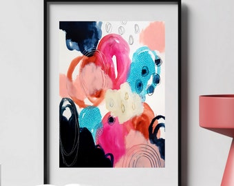Colorful Bold Abstract Art - Original Art - 11X14 with 16X20 White Mat - SHINE