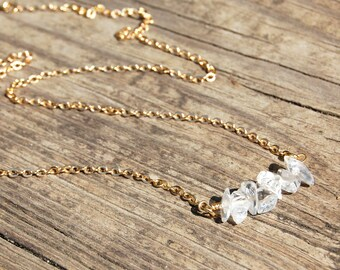 Clear Quartz Crystal Necklace, Yoga Jewelry,  minimalist, layered necklace