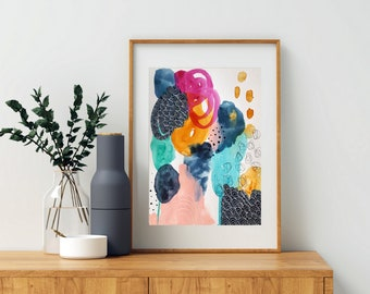 Colorful Bold Abstract Art - Original Art - 9x12 with 11x14 White Mat - TENDERNESS