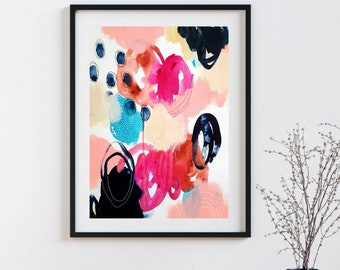 Colorful Bold Abstract Art - Original Art - 11X14 with 16X20 White Mat - SEEK
