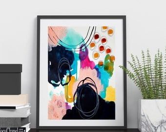 Colorful Bold Abstract Art - Original Art - 9x12 with 11x14 White Mat - TRUST