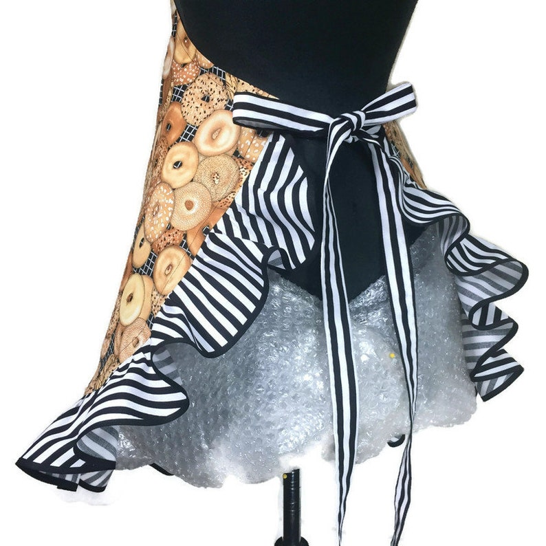 Black and white stripe ruffle Retro Bakery  Flirty Aprons for women  Bagles and stripes  Bake off  Girls apron Bagel Apron for women