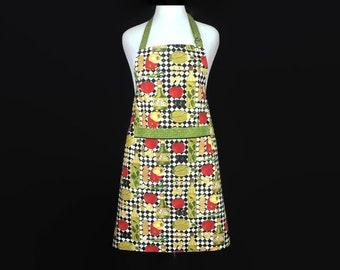 Italian Chef Apron / Tomatoes , Olive Oil , Peppers and Pasta / Pocket / Flavors of Italy / Italian Kitchen Decor