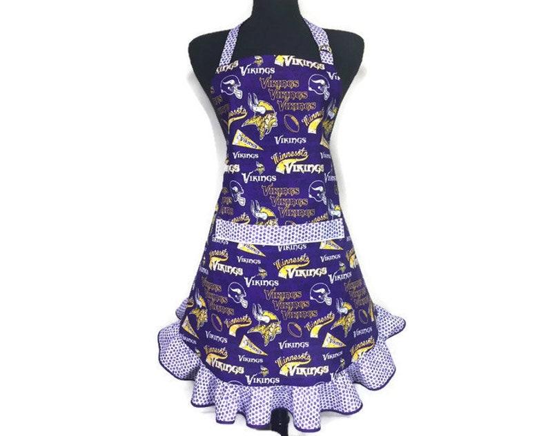 Purple Apron Football mom  Aprons for women  SKOL Vikings  Flirty apron Retro Style Ruffled apron Minnesota Vikings Apron for women