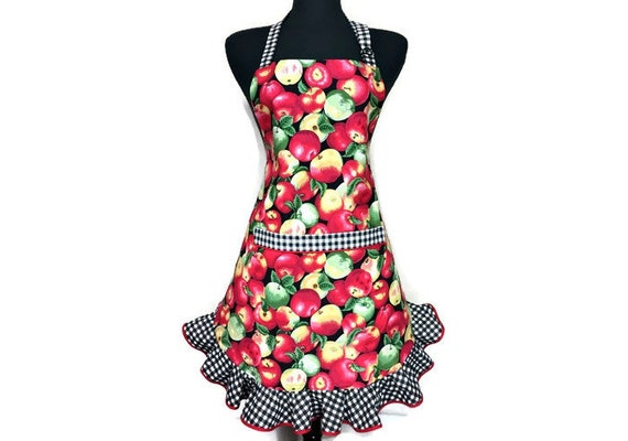 Retro Apple Apron for women / Apple Kitchen Decor / Aprons for women /  Retro Style Apron with Red and Green Apples / Apple Orchard / Flirty