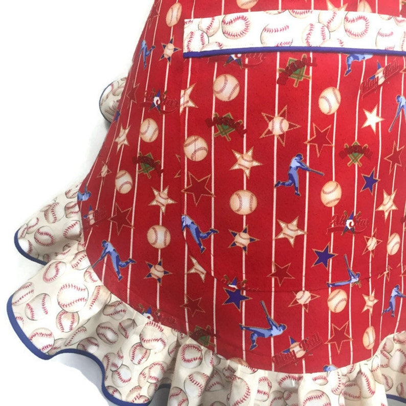 Baseball Apron for women  Retro Style Ruffled apron with Baseballs  Red Cotton Apron with ruffles  Little League  Softball  Sports