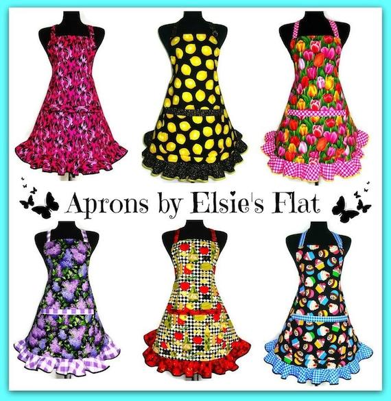 Deviled Egg Apron for Women  Retro Style Apron with Eggs  Aprons for women  Polka Dot Ruffle  Adjustable Egg Print apron for girls
