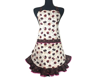 Valentine's Day Chocolates / Retro Style Apron for women / Chocolate Truffles with a Polka Dot print ruffle / Aprons for girls / 1950s