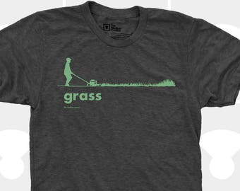 Grass Men's TShirt, Men Tee Shirt, Grass, Spring, Summer, Lawn, Outdoors, Garden, Green, Funny, Black Shirt (4 Colors) TShirt for Men