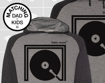 Matching Dad and Me Hoodies - Listen Round