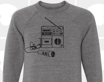 80's Boombox Mens Music Crew Sweatshirt - Aesthetic Clothing - Unisex