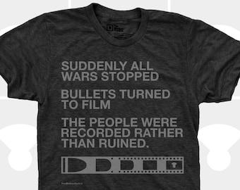 Men TShirt Film v. Bullet, Men Shirt, Typography TShirt, Photography, Inspirational Quote, War, S,M,L,Xl,Xxl, Blue (4 Colors) TShirt for Men