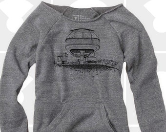 Slouchy Sweatshirt, Spaceship Chairlift, Women's New Years Eve Shirt, Skiing Snowboard Shirt