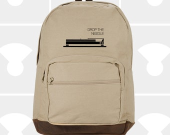 Drop the Needle - Leather Bottom Laptop Backpack