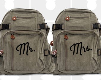 Backpacks, Wife, Husband, Mr. & Mrs., Destination Wedding, Bride, Groom, Honeymoon Luggage, Custom Wedding Gift, Bridal Bag, Honeymoon Bag