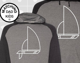 Matching Dad and Me Hoodies - Sailboat