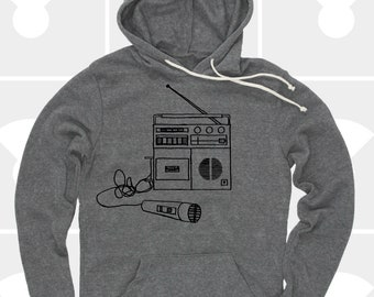80's Boombox Mens Music Pullover Hoodie - Aesthetic Clothing - Unisex