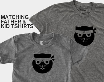 Matching Dad and Me Shirts - Kung Fu Watson the Cat
