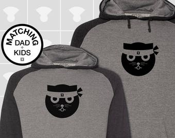 Matching Dad and Me Hoodie - Kung Fu Watson the Cat