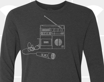 80's Boombox Mens Music Long Sleeve T-Shirt