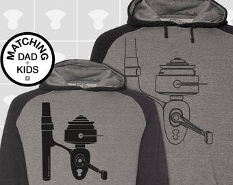 Matching Dad and Me Hoodie - Fishing Reel