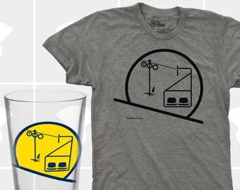 Sunrise / Sunset Chairlift T Shirt & Pint Glass Set - Men