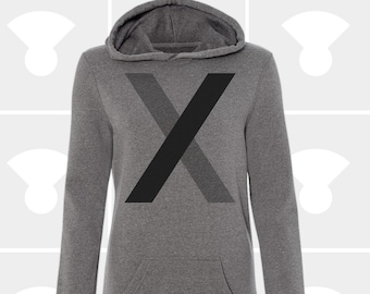 Sweatshirt Dress - Minimalist Letter X
