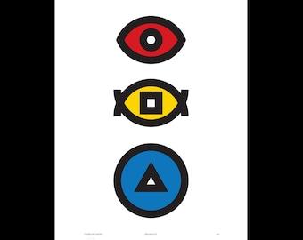 Geometric Print Modern, Bauhaus Poster, Screenprint Hand-Printed, Scandinavian Print, Living Room Wall Art, Boyfriend Gift, Boys Nursery