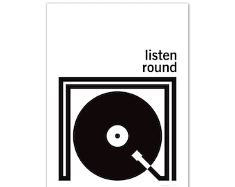 Listen Round Turntable - Art Print