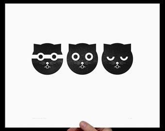 Watson the Cat, Art Print, Three Musketeers, Letterpress, Print, Poster, Cat Art, Nursery Art, Crazy Cat Lady, Kids Room, Wall Decor, Black