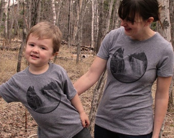 Mom and Kid Matching Shirts, Waterfall
