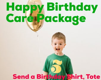 Care Package - 5th Happy Birthday TShirt, Tote Bag & Handwritten Birthday Card  - FIVE - Personalization Available