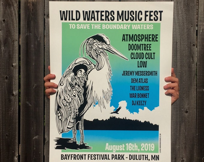 Featured listing image: Atmosphere / Save the Boundary Waters  - Screen Printed Poster - Duluth 2019 Gig Poster