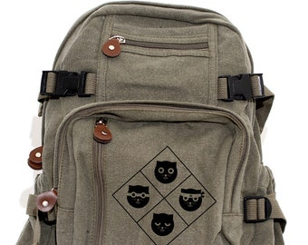 Cat Badge - Lightweight Canvas Backpack