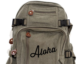 Backpack, Aloha, Canvas Backpack, Travel Bag, Hawaii, Honeymoon Bag, Hawaiian Gift, Backpack Women, Personalized Bag, Monogrammed Bag