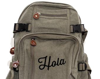 Backpack, Canvas Backpack, Small Backpack, School Backpack, Backpack Men, Backpack Women, College Backpack, Spanish, Hola, Back to School