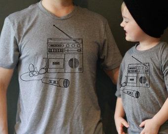 Fathers Day Gift: Father Son Matching Shirts - Boombox Shirt